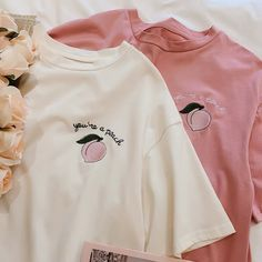 Lovely Peach T-shirt – ivybycrafts Crop Top Outfits, Summer Outfits, Cute Outfits, Kawaii Shirts, Kawaii Clothes, Peach Shirt, Sweatshirt Outfit, Business Outfits, Shirts For Girls