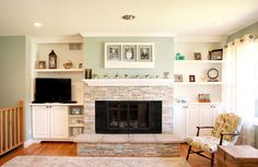 After: fireplace with built-ins