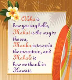 The Hawaiian language can be best described as soft, musical, and welcoming. So the next time you are in Hawaii, don't restrict yourself to 'Aloha'. Learn a few more words as an ode to this beautiful language and beautiful culture. Hawaii Vacation, Hawaii Travel, Hawaiian Phrases, Hawaiian Sayings, Ohana, Hawaii Quotes, Mahalo Hawaii, Hawaiian Tattoo, Hawaii Life