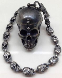 "Antique Victorian 19th C silver doctor's Skull ""Memento Mori"" pocket watch&chain"