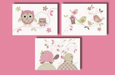 Owl Baby Nursery Art Print - Owl Decor - Baby Girl Owl Nursery Artwork - Turtle and Bird - Pink and Green Nursery Art - Set of 3 PRINTS on Etsy, $30.00