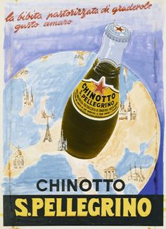 Chinotto was already a superstar among drinks many many years ago: here is a vintage ad of the popular bottle. Vintage Italian Posters, Pub Vintage, Vintage Advertising Posters, Vintage Italy, Vintage Labels, Vintage Advertisements, San Pellegrino, Poster Ads, Old Ads