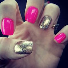 Gold glitter and neon pink nails ♥