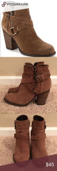 Guess suede bootie Beautiful condition. Brown rills suede bootie. Zip up side. Leather upper. Barely worn. Guess Shoes Ankle Boots & Booties
