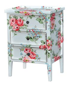 Designer Side Table / Bedside by Steven Shell Hand-painted Shabby Chic Chintz | eBay