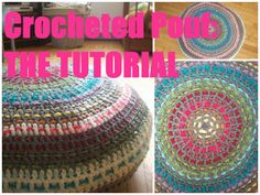 Crocheted pouf tutorial in Dutch and English. ♥ ~~Finally a tut for a crocheted pouf! Crochet Pouf Pattern, Crochet Motifs, Crochet Cushions, Crochet Pillow, Crochet Stitches, Crochet Patterns, Crochet Home, Love Crochet, Learn To Crochet