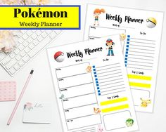 Pokemon Weekly Planner, Printable  Weekly Planner Insert, Letter, Full Sheet, PDF Download, Pokemon