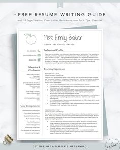 Teacher Resume Template for Word & Pages Apple Resume Elementary Teacher Resume, Elementary Schools, Primary Education, Student Teaching, School Teacher, Teaching Ideas, Classroom Teacher, Classroom Ideas, Teacher Resume Template