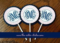 12 Pink and Navy Monogram Cupcake Toppers - Cupcake Sticks - Chevron - Birthday Party on Etsy, $11.00