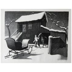 Grant Wood, December Afternoon (American, 1892 - Date: 1941 Medium: Lithograph on paper Dimensions: Overall: 12 x x Image: 8 x 11 x (MWPAI Collection) Most Famous Paintings, Most Famous Artists, Grant Wood Paintings, American Gothic, Wood Stone, Paper Dimensions, American Artists, Wood Print, Wall Decor
