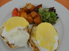 """Lobster benedict for breakfast? Yes, please! This nice breakfast plate is from BLUE at Cap Juluca, from which you enjoy a """"BLUE"""" view, too.. Maunday's Bay in the morning is spectacular.  Click on pic for full story at the Facebook Page. Loads of other great pics there, too."""