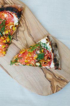 Tomato, Corn and Dill Pizza w/ Ricotta.  Ashley Walters Rodriguez