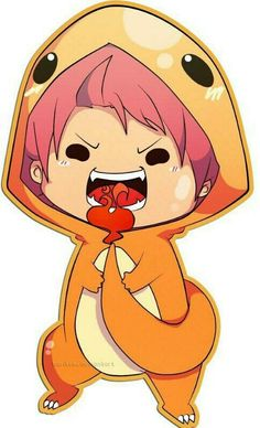 Natsu wearing a charmander outfit and eating the flame on his tail
