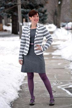 Already Pretty outfit featuring Gap Academy Blazer, gray wool sheath dress, lavender tights, Tsubo Acrea, lavender belt via @Already Pretty