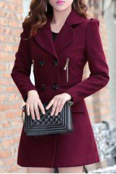 Stylish Lapel Collar Long Sleeves Double Breasted Long Wool Coat For Women