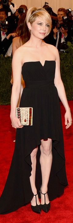 Michelle Williams at the 2013 Met Gala in New York: Dress – Saint Laurent Purse – Olympia Le-Tan Jewelry – Fred Leighton