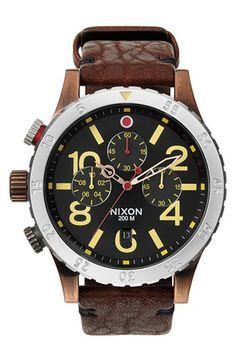 Men's Nixon 'The 48-20' Chronograph Leather Strap Watch