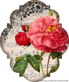 vintage music and floral template