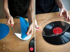 DIY Vintage Record Cake Plates http://ohhappyday.com/2011/08/diy-vintage-record-cake-plates/