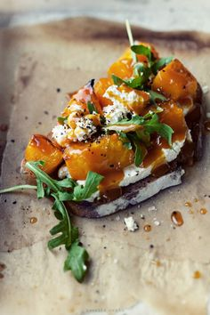 roasted pumpkin, cheese & arugula bruschetta