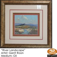 """""""River Landscape"""" Oil on canvas by Gerrit Roon Contact 43 on Marsh should you be interested in a work: 083 390 8000 Artist Painting, Oil Paintings, Oil On Canvas, Art Gallery, River, Landscape, Frame, Art Museum, Painted Canvas"""