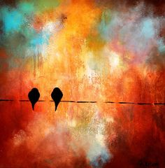 Lovebirds 119   large oil painting on  canvas by Natureandart, $120.00
