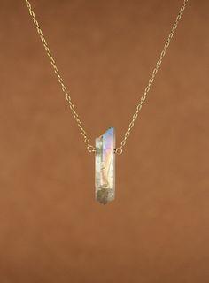 Angel aura crystal necklace  aura quartz  rainbow  raw by BubuRuby, $32.00