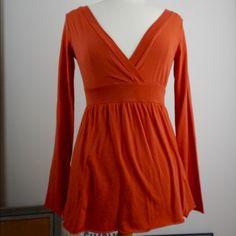 Brunt Orange Velvet Long Sleeve V-Neck Used in Excellent Condition No Trades No PayPal Velvet Tops Tees - Long Sleeve