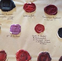 18th century samples from a wax seal maker. photo by ginny branch.