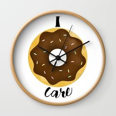 I Donut Care Wall Clock by A Little Leafy | Society6