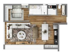 3 Distinctly Themed Apartments Under 800 Square Feet with Floor plans Small House Floor Plans, Modern House Plans, Apartment Layout, Apartment Design, Small Camper Interior, Small Studio Apartments, Micro Apartment, Apartment Floor Plans, Design Case