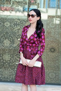 Diane Von Furstenberg Dress, Schutz Pink Sandals, Kate Spade Gold Clutch, Valentine's Day Look, Los Angeles Fashion Blogger