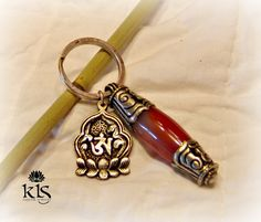 Unique Silver Capped Carnelian Key Chain with by KLSCustomJewelry, $25.00