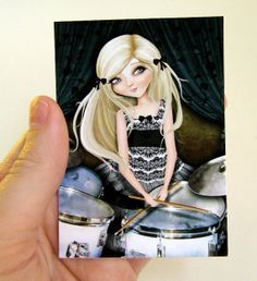 """ACEO/ATC Mini Fine Art Print """"Simona and her Dreams"""" Artist Trading Card 2.5x3.5 - Lowbrow Art Musician Girl Playing Silver Drums"""