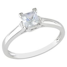 0.59 carat Created White Sapphire Solitaire Ring 10k White Gold $255