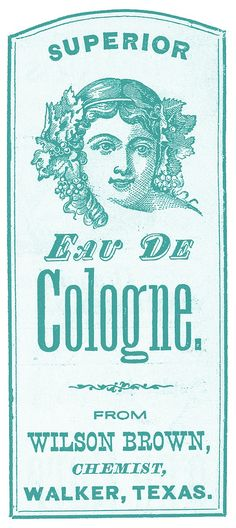 Vintage Clip Art - Pretty Cologne Label - Texas - The Graphics Fairy