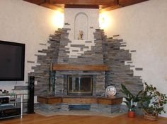 Outside Fireplace, Home Fireplace, Living Room With Fireplace, Home Living Room, Brick Oven Outdoor, Ceiling Light Design, Diy House Projects, Interior Exterior, Home Decor Inspiration
