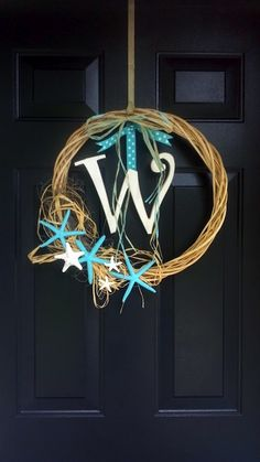 Beachy chic starfish wreath (that I made)