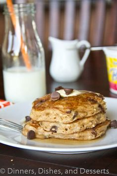 Oatmeal Chocolate Chip Pancakes- these are really good! You only need 2-3 to fill you up. I didn't want to bother with the food processor just for less than a cup, it makes it more of a oatmeal flap jack. It makes 8, 1/4th cup  pancakes. They are thick, add a little more buttermilk for thinner ones. It makes the house smell amazing!