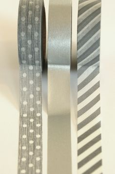 Set of 3 Rolls - Silver Gray and White Stripes, Polka Dots, & Plain Masking Tape / Japanese Washi Tape (.60 inches x 33 feet). $12.00, via Etsy.