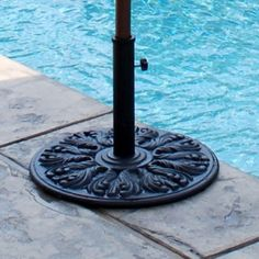 this 75 lb european umbrella base has a classic european look made of durable cast