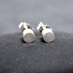 INITIAL CYLINDER studs earrings circle barrel 925 by RoyalCountess