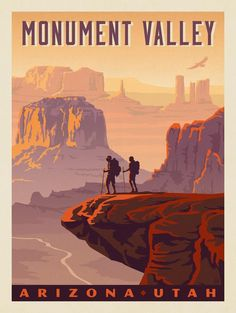 Image credit: Anderson Design Group You'll no doubt know Monument Valley Park as one of the most recognisable natural sights in the United States? Truth be told, Monument Valley Park has a pretty unusual landscape and unique features that are so American National Parks, Us National Parks, Retro Poster, Vintage Travel Posters, Monument Valley Park, Vintage National Park Posters, Pin Ups Vintage, Nationalparks Usa, Voyage Usa