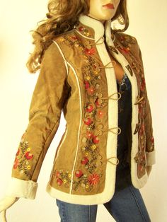 Vintage 1970's style Russian Princess Coat Suede and Embroidery  loved this jacket