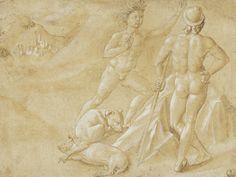 Benozzo Gozzoli, Due nudi maschili e due cani che dormono, 1459 circa, Penna e…