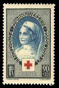 République Française: 1939 Red Cross Nurse, Honoring the 75th Anniversary of the La Croix Rouge - The Red Cross (1864-1959)