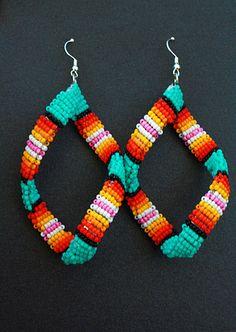 Aqua Green Native American Beaded Spiral Earrings by eleumne, $45.00