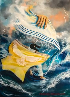 My covering, Woman walking on water in the storm protected by God, prophetic art. Arte Judaica, Christian Pictures, Prophetic Art, Jesus Art, Biblical Art, Lion Of Judah, Jesus Pictures, Bible Art, Christian Art