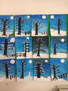 Boom in de sneeuw - diy and crafts Winter Art Projects, Winter Crafts For Kids, Art For Kids, Winter Scene Paintings, Winter Painting, Kids Crafts, Diy And Crafts, Arts And Crafts, Contact Paper Shape Art