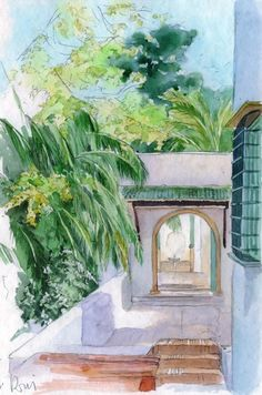 Alger - Villa Abd El Tif vers la colline - Peinture, 30x20 cm ©2011 par Catherine Rossi -